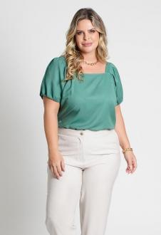 Blusa lisa com amarração costas verde Ref. U77121