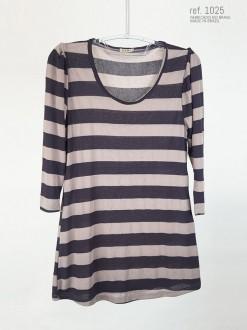 Blusa listrada azul marinho com cinza ref. 1025