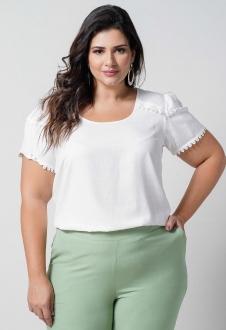 Blusa  off-white com aplicação renda plus size  Ref. U66121