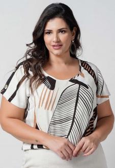 Blusa  off-white estampada plus size  Ref. U69621