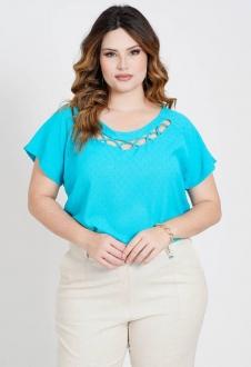 Blusa plus size Azul maquinetada  Ref. U81221
