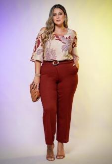 Blusa rosê plus size estampada de manguinha  ombro vazado  Ref. U62721
