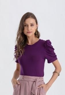Blusa roxa  com manga bufante  Ref. 02646
