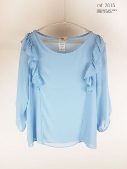 Blusa social feminina com babado azul serenity  ref. 2615