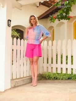 Blusa social feminina ombro a ombro pink ref. 2617