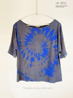 Blusa tiedye cor azul cinza ref. 1025