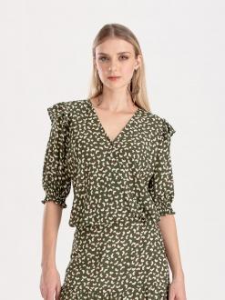 Blusa verde com estampa floral Ref: F12363