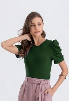 Blusa verde  com manga bufante  Ref. 02646