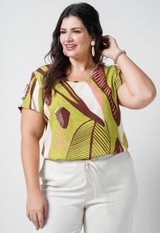 Blusa  verde estampada plus size  Ref. U69621