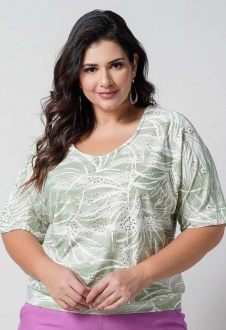 Blusa verde laise de malha  plus size  Ref. U66321