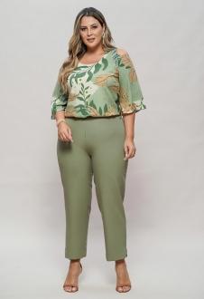 Blusa verde plus size estampada de manguinha  ombro vazado  Ref. U62721