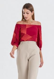 Blusa vermelha estampada de bolinhas ref. 2672