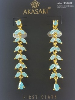 Brinco dourado com cristal azul - AKA-BC2670