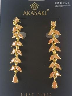 Brinco dourado com cristal laranja - AKA-BC2670