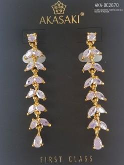 Brinco dourado com cristal lilás - AKA-BC2670
