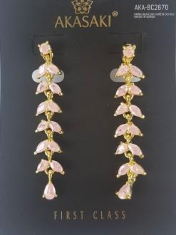 Brinco dourado com cristal rosa - AKA-BC2670