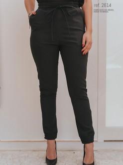 Calça alfaiataria jogger feminina preto ref. 2614