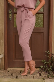 Calça pantacourt  de crepe com bolso rosê Ref. 02651