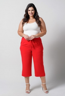 Calça Pantacourt  vermelho plus size lisa U27470
