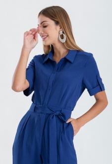 Camisa feminina azul manga curta ref. 2650