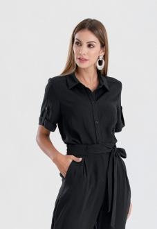 Camisa feminina preta manga curta  ref. 2650