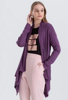 Cardigan feminino tricot roxo ref. 2665