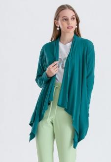 Cardigan feminino tricot verde pretroleo ref. 2665