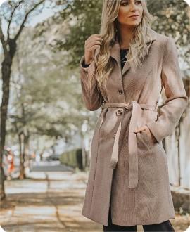 Casaco feminino blazer clássico 7/8 Chevron marrom - Ref. 2602