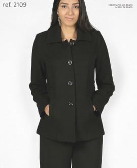 Casaco lã Sobretudo feminino Preto plus size - Ref. 2109
