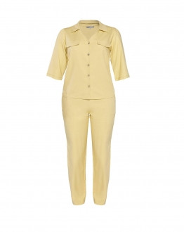 Conjunto amarelo calça e blusa 3/4  plus size  Ref. U61821