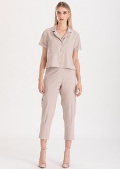 Conjunto areia calça e camisa ref. F123145