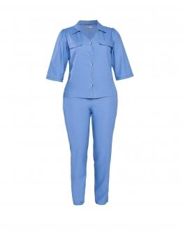 Conjunto azul calça e blusa 3/4  plus size  Ref. U61821