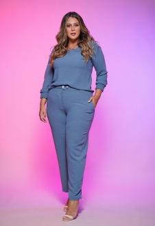 Conjunto azul calça e blusa  plus size  Ref. U63321