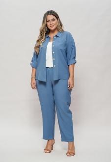 Conjunto azul calça e camisão  plus size  Ref. U63621