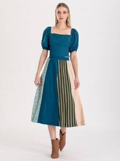 Conjunto azul petróleo blusa com saia ref. f123101