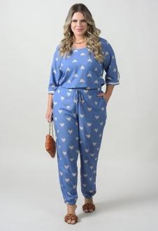 Conjunto azul plus size  blusa e calça ref. U60421