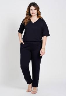 Conjunto malha blusa e calça preto Ref. U80621