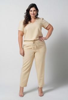 Conjunto  plus size  amarelo blusa e calça com bolso  Ref. U67121