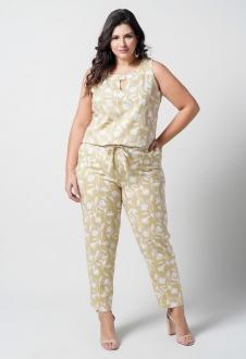 Conjunto  plus size  amarelo blusa e calça com bolso  Ref. U67521