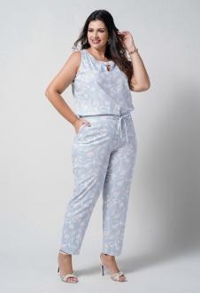Conjunto  plus size  azul blusa e calça com bolso  Ref. U67521