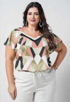 Conjunto  plus size  blusa estampada e pantacourt com bolso  Ref. U70921