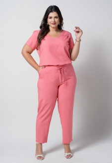 Conjunto  plus size  coral blusa e calça com bolso  Ref. U67121