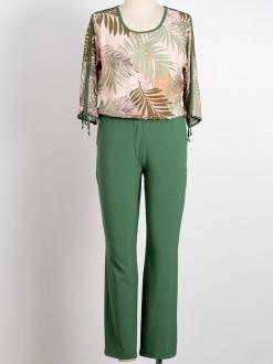 Conjunto plus size de calça com blusa estampada, detalhe na manga longa U838920 T44 50