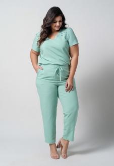 Conjunto  plus size  verde blusa e calça com bolso  Ref. U67121