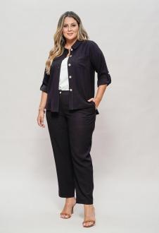 Conjunto preto calça e camisão  plus size  Ref. U63621