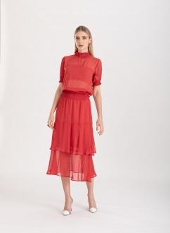Conjunto saia midi e blusa vermelho ref. F123079