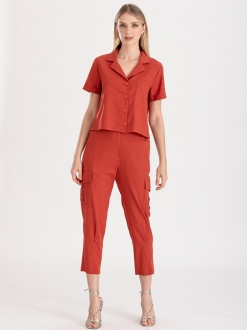 Conjunto terracota calça e camisa ref. F123145