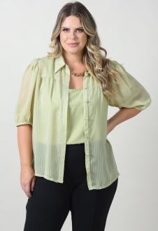 Conjunto verde camisa com regata plus size  Ref. U145120