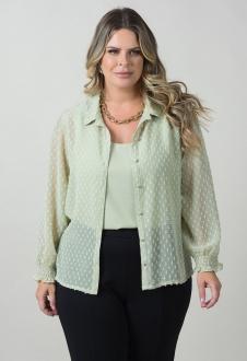 Conjunto verde camisa manga longa com regata plus size  Ref. U141420