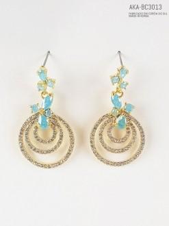 Brinco feminino de cristais Azul serenity  - AKA-BC3013